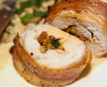Pancetta wrapped chicken