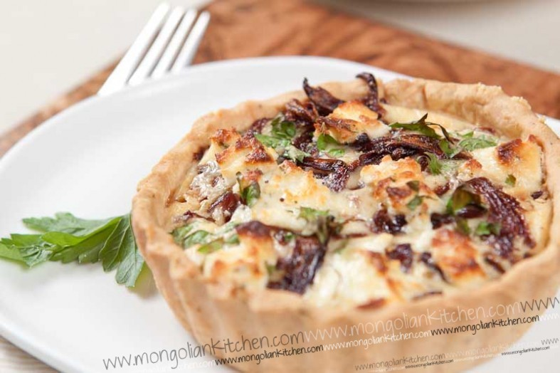 Caramelised onion and goats cheese tart Recipe - Goats cheese tart recipe | MongolianKitchen.com